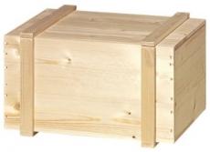 6er Holzkiste mit Leisten natur